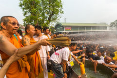 Blessing with Holy water of participants Wai Kroo (Luang Por Phern) Master Day Ceremony at Wat Bang Phra monastery Stock Photography