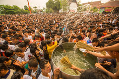 Blessing with Holy water of participants Wai Kroo  Master Day Ceremony at Wat Bang Phra monastery Stock Photos