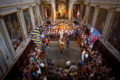 The Blessing of Nobile Nile. A blessing in the Leocorno church for the horse, Nobile Nile who will be racing in il Palio horserace for the Unicorn contrade (ward Stock Photography