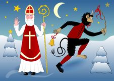 Blessing Saint Nicholas in traditional white clothing with cross, miter, a crosier.  Stock Photos