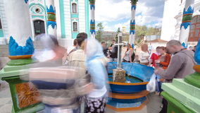 Blessing of water-canopy chape timelapse. Holy Trinity St. Sergius Lavra. Sergiev Posad, Moscow region. Blessing of water-canopy chape hyperlapse with people stock footage