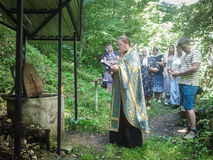 Blessing of water source in the village of Shestovo the Kaluga region of Russia. In the Russian Orthodox Church there is an ancien Stock Photos