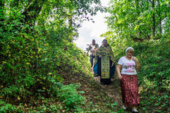 Blessing of water source in the village of Shestovo the Kaluga region of Russia. In the Russian Orthodox Church there is an ancien Stock Image