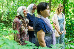 Blessing of water source in the village of Shestovo the Kaluga region of Russia. In the Russian Orthodox Church there is an ancien Stock Images