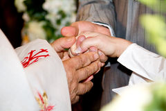 Blessing at wedding ceremony. Close-up orthodox priest hands during God's blessing at church wedding ceremony Royalty Free Stock Images