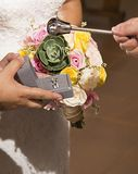 Blessing of wedding rings during wedding celebration in church royalty free stock photography