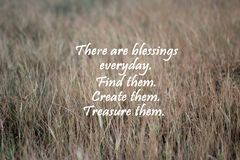 Blessings inspirational quote with brown paddy leaves pattern background. royalty free stock photos