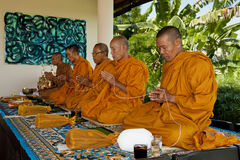 Blessings by thai monks royalty free stock photo