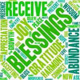 Blessings Word Cloud. On a white background Royalty Free Stock Photos