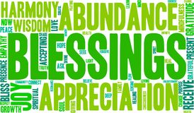 Blessings Word Cloud. On a white background Stock Photography