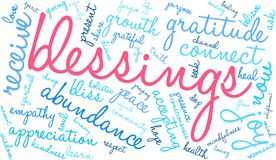 Blessings Word Cloud. On a white background Stock Photo