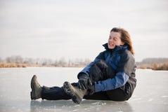 Blessure à la cheville - glissade de l'hiver Photos libres de droits