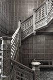 Bletchley-Park, hölzernes Treppenhaus der Weinlese stockbild