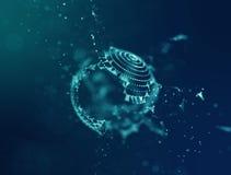 Bleu abstrait Mesh Sphere tordu lumineux par 3d Signe au néon Technologie futuriste HUD Element Abstrait élégant illustration stock