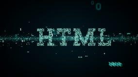 Bleu binaire de HTML de mots-clés illustration libre de droits