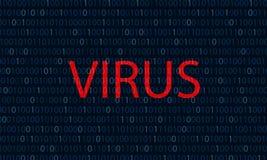 Bleu binaire le fond rouge de code binaire de concept de virus informatique de virus de mot illustration libre de droits
