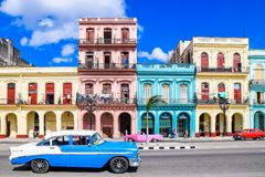 Magic old havana. Bleu car in th beautiful and magic old havana. perfect sky in Cuba Stock Photography