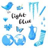Bleu-clair Apprenez la couleur Ensemble d'éducation Illustration de couleurs primaires Image libre de droits