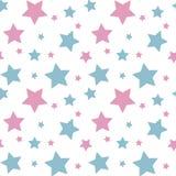 Bleu coloré en pastel de rose d'étoile sur le seaml blanc de modèle de fond illustration libre de droits