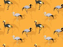 Bleu Crane Cartoon Seamless Wallpaper de Demoiselle Images libres de droits
