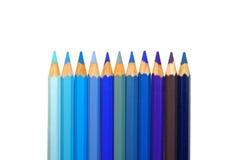 Bleu. crayons de couleur Image stock