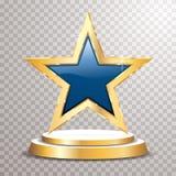 Bleu d'or d'étoile de podium illustration libre de droits