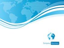 Bleu d'affaires de calibre de fond avec la carte du monde Photographie stock libre de droits