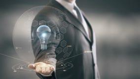 Bleu d'ampoule avec le concept d'homme d'affaires d'hologramme