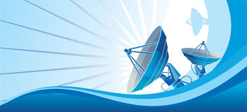 Bleu d'antenne parabolique Image stock