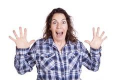 Bleu d'expression de femme étonné Photographie stock libre de droits