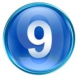 Bleu d'icône du numéro neuf Image stock