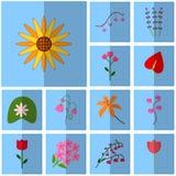 Bleu d'icônes, ombre, place, Floraison réglée d'icône de vecteur Photographie stock