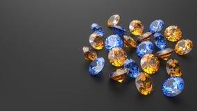 Bleu d'océan et diamants jaunes canari d'or sur un fond noir Photos libres de droits