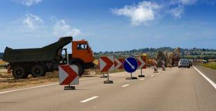 Bleu de camion de travail de route Image stock