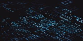 Bleu de code binaire d'ordinateur avec la profondeur du champ sur le fond noir Photographie stock