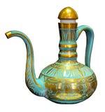 Bleu de cruche avec des conceptions d'or d'antique Images libres de droits
