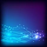 Bleu de fond Lignes et étoiles rougeoyantes illustration libre de droits