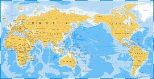Bleu de jaune de carte du monde - Asie au centre illustration stock
