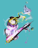 BLEU de ninja de l'espace Images libres de droits