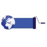 Bleu de planète avec le rouleau Images stock