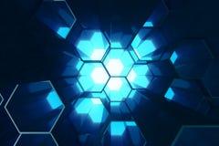 Bleu de résumé du modèle extérieur futuriste d'hexagone, nid d'abeilles hexagonal avec les rayons légers, rendu 3D illustration libre de droits