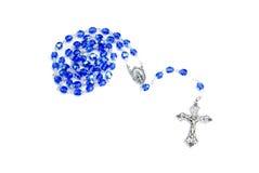 Bleu de rosaire sur le blanc photo stock