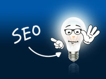 Bleu de SEO Bulb Lamp Energy Light Images libres de droits