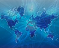 Bleu de transfert de données du monde illustration stock