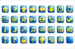 Bleu et boutons lustrés de Web colorés par jaune Photographie stock libre de droits