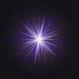 Bleu et effet léger rougeoyant pourpre de scintillement d'étoile PS magique de lueur Images libres de droits