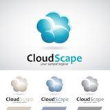 Bleu et nuage de pluie pelucheux de Brown Logo Icon Photographie stock libre de droits