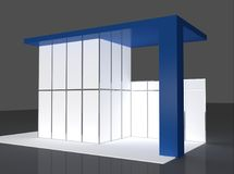 Bleu et rendu de Grey Exhibition Stand 3d Photo libre de droits