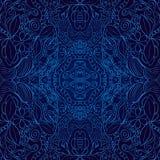 Bleu fait main coloré sans couture de filigrane de modèle Photos stock