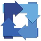 Bleu-flèche-dans-cercle-blanc-fond Photographie stock libre de droits